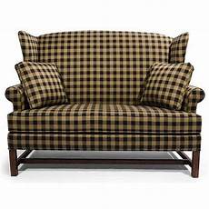 high back settee with arms star homespun high wing back settee with rolled arms primitive furniture colonial furniture
