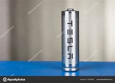 Cylindrical Battery With Tesla Logo For A Pack Of Cells