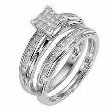 ernest jones engagement wedding ring sets 9ct white gold half carat diamond cluster bridal ring
