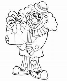 kostenlose malvorlage geburtstag clown mit