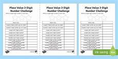place value 3 digit number challenge worksheet activity