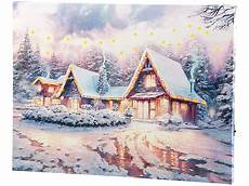 infactory weihnachtsbilder wandbild quot winterdorf quot mit led