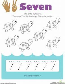 tracing numbers 7 worksheet education com