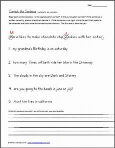 capitalization and punctuation editing worksheets 20756 correct the sentence capitalization and punctuation worksheet writing ideas teaching