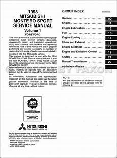 free car manuals to download 1998 mitsubishi montero spare parts catalogs 1998 mitsubishi montero sport repair shop manual set original