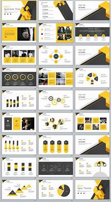 27 Yellow Business Report Plan Powerpoint Template