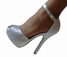 Wedding Peep Toe Heels white satin rhinestone platform peep toe bridal heels