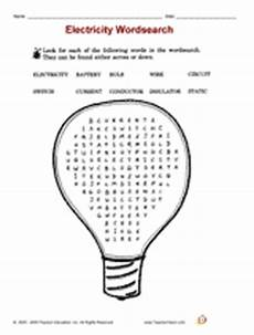 electricity wordsearch teachervision