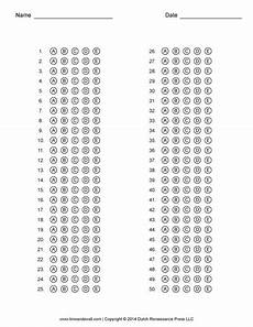free answer sheet templates pdf for multiple choice tests
