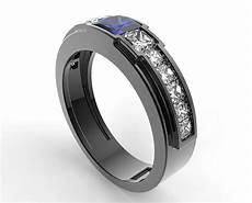 black gold blue sapphire wedding ring for a men vidar jewelry unique custom engagement and