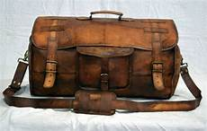 s brown genuine large leather goat hide duffle bag