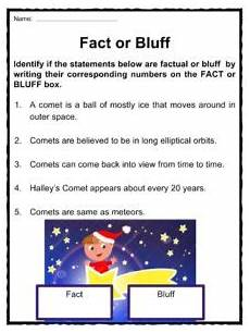comet asteroid and meteor facts worksheets for kids
