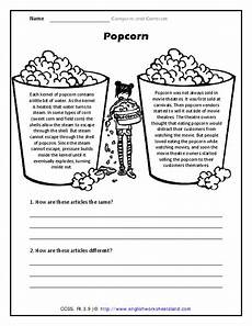 compare and contrast popcorn worksheet for 2nd 4th grade lesson planet