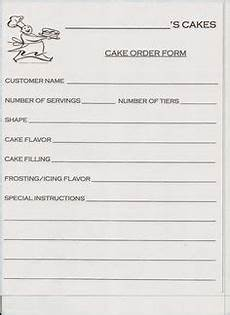 cake order receipt template cake cupcake and cookie decorating business printable