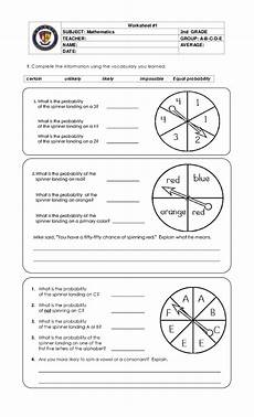 probability worksheet for grade 7 6021 probability likely unlikely certain impossible worksheets pdf