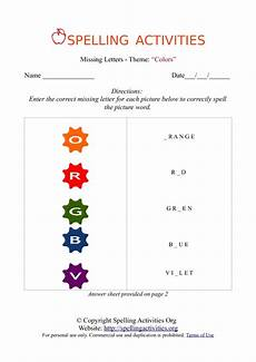 colors spelling printable 12809 missing letters spelling worksheet with colors