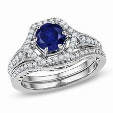 7 0mm lab created blue sapphire and 3 8 ct t w diamond