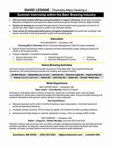 internship resume sle monster com