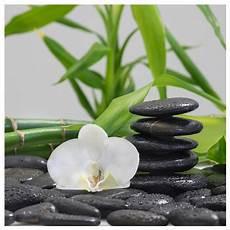 Levandeo Glasbild 30x30cm Bambus Orchideen Steine Wandbild