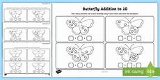 new butterfly addition to 10 worksheets ks1 infants maths math