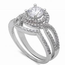 vintage wedding engagement ring 1 00ct russian ice diamond cz double halo accent two piece