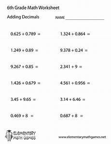 decimal fraction worksheets grade 6 7497 sixth grade adding decimals worksheet