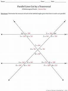 parallel lines cut by a transversal puzzle by free to