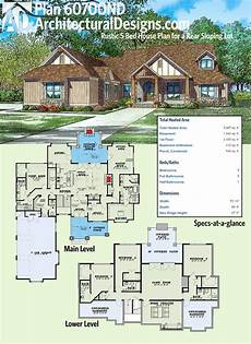 house plans for downward sloping lots plan 60700nd rustic 5 bed house plan for a rear sloping