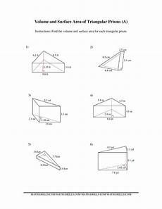 volume and surface area of triangular prisms a
