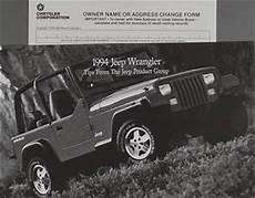 car repair manual download 1994 jeep wrangler security system 1994 jeep wrangler original owner s manual