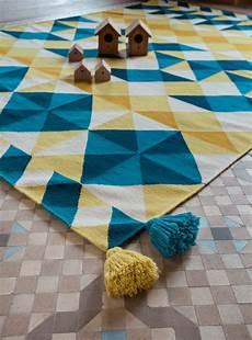 Tapis Kilim Mosa 239 Ek Gan Bleu Jaune Made In Design