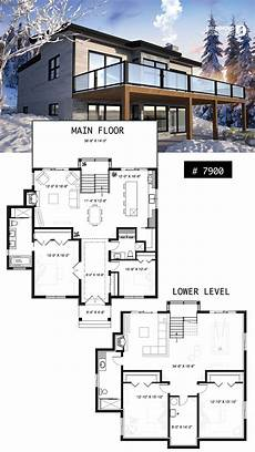 modern cottage house plan with finished walkout basement