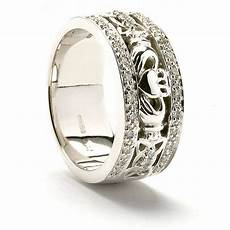 15 photo of mens white gold claddagh wedding bands