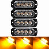 4PCS Van Flashing LED Strobe Lights Amber Beacons Bar 12v