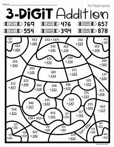 3 digit addition with regrouping coloring worksheets 9704 easter three digit addition color by number with and without regrouping addition
