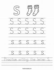 practice writing the letter s worksheet twisty noodle