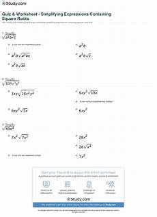 quiz worksheet simplifying expressions containing square roots study com