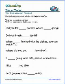 grade 3 vocabulary worksheet use your or you re k5 learning