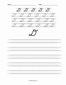letter d cursive handwriting worksheets 24199 d nealian cursive letters letter d practice worksheet