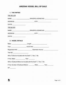 free arizona vessel bill of sale form pdf word