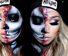 Make Up Halbes Gesicht - we this half skull with the other half in smokey