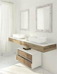 meuble vasque salle de bain en bois patin 233 et blanc mat