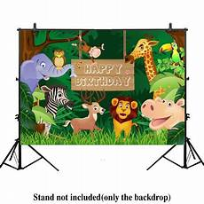 Animal Happy Birthday Photography Background Cloth by Hellodecor Polyester Fabric 7x5ft Jungle Safari Themed
