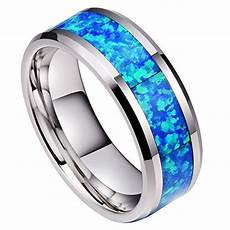 8mm unisex or men s blue opal inlay mens tungsten wedding band ring silver tone wedding band
