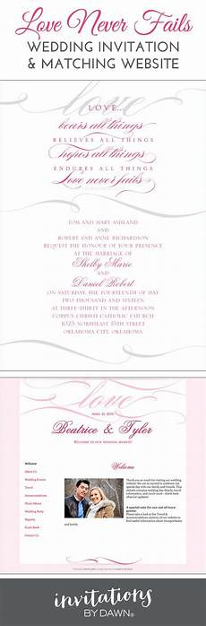 quot love never fails quot wedding invitation with plus a matching