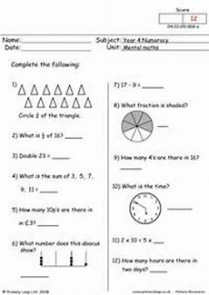 numeracy mental arithmetic test 4 worksheet primaryleap co uk