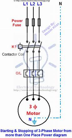 starting stopping of 3 phase motor from more than one
