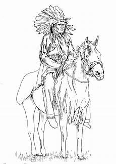 Ausmalbild Indianer Auf Pferd American On His American