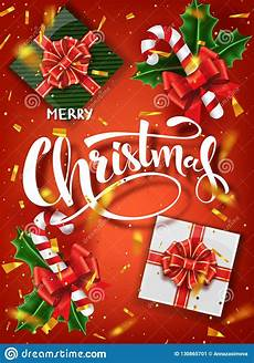 christmas design vector template calligraphic merry christmas lettering decorated christmas