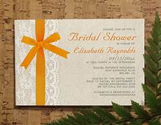 orange bow lace bridal invitations bridal shower
